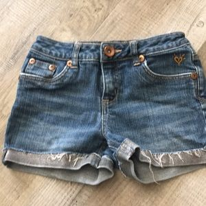 Justice 12s short distressed jean shorts
